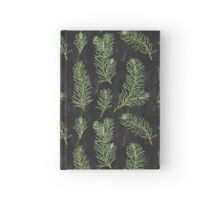 Watercolor pine branches pattern on black background Hardcover Journal