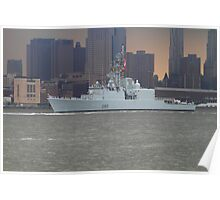 Canadian Battleship on The Hudson Rv. Poster
