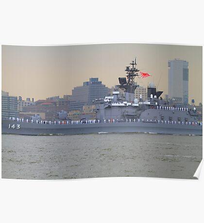 Japanese Battleship On The Hudson Rv. Poster