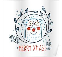 Christmas  polar bears and wreaths.  Poster