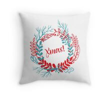 Christmas wreath drawn. Throw Pillow