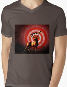 DEER WATCH pop art illustration print Mens V-Neck T-Shirt