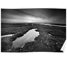 Salt Marsh Sunset BW Poster