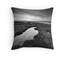 Salt Marsh Sunset BW Throw Pillow