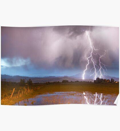 Lightning Striking Longs Peak Foothills 6 Poster