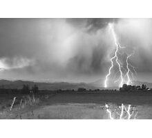 Lightning Striking Longs Peak Foothills 6BW Photographic Print