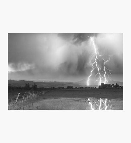 Lightning Striking Longs Peak Foothills 6BW Photographic Print