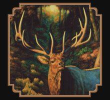 Autumn Majesty - Elk Oil Painting Kids Tee