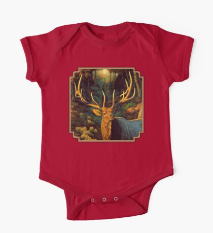 Autumn Majesty - Elk Oil Painting One Piece - Short Sleeve