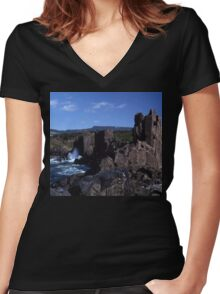 Rock Formations, Bombo Coastline, Australia Women's Fitted V-Neck T-Shirt