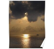 Sunset with Clouds - Puesta del Sol con Nubes Poster