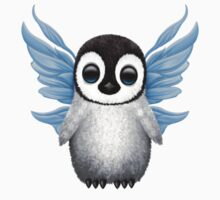 Cute Baby Penguin with Blue Fairy Wings Baby Tee