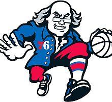 Philadelphia 76'ers Benjamin Franklin 2015-2016 Logo by TheTeeShirtGuy