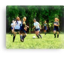 Girls Playing Soccer Canvas Print