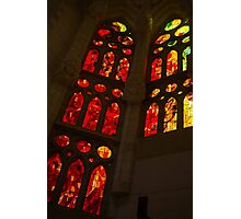 Glorious Reds and Yellows - Sagrada Familia Stained Glass Windows Photographic Print