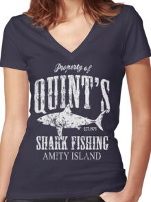 Quints Shark Fishing Women's Fitted V-Neck T-Shirt