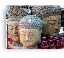 Three Buddha Heads, Stanley Market, Hong Kong Canvas Print
