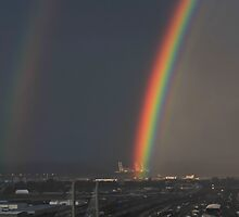 Double Rainbow - Tacoma Tide Flats  by Vincent Frank