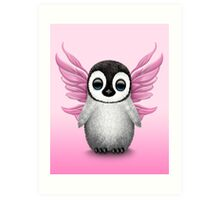 Cute Baby Penguin with Pink Fairy Wings Art Print