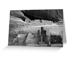 White House Ruin Monochrome Greeting Card