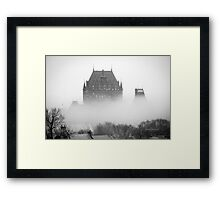 A Foggy Morning engulfs Chateau Frontenac Black and White Framed Print