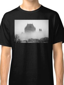 A Foggy Morning engulfs Chateau Frontenac Black and White Classic T-Shirt