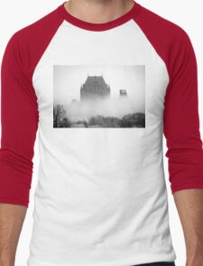 A Foggy Morning engulfs Chateau Frontenac Black and White Men's Baseball ¾ T-Shirt
