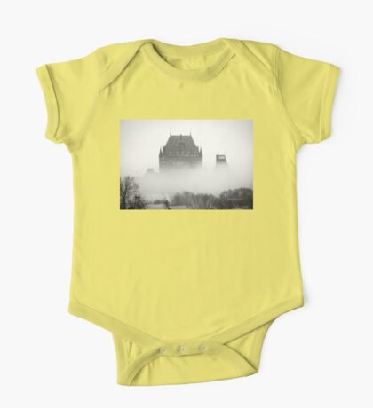 A Foggy Morning engulfs Chateau Frontenac Black and White One Piece - Short Sleeve