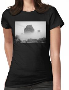 A Foggy Morning engulfs Chateau Frontenac Black and White Womens Fitted T-Shirt