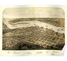 Panoramic Maps Birds eye view of the city of Port Huron Sarnia Gratiot St Clair Co Michigan 1867 Poster