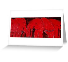 Dancing with Red Elephants Greeting Card