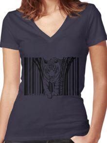 endangered TIGER BARCODE illustration Women's Fitted V-Neck T-Shirt