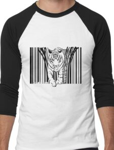 endangered TIGER BARCODE illustration Men's Baseball ¾ T-Shirt