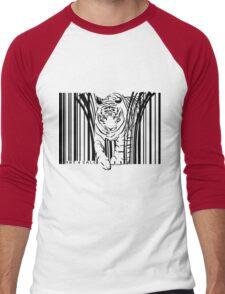 endangered TIGER BARCODE illustration Men's Baseball ¾ T-Shirt