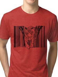 endangered TIGER BARCODE illustration Tri-blend T-Shirt