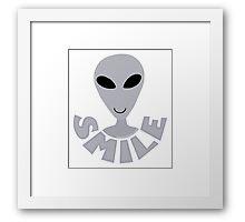 SMILE! Happy Alien LGM In Gray Framed Print