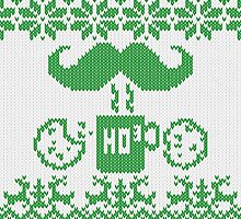 Santa's Stache Over Green Midnight Snack Knit Style by Garaga