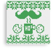 Santa's Stache Over Green Midnight Snack Knit Style Canvas Print