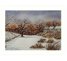 snow scene with snow covered trees and cottages painting  Art Print