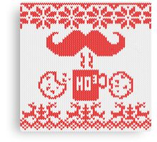 Santa's Stache Over Red Midnight Snack Knit Style Canvas Print