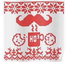 Santa's Stache Over Red Midnight Snack Knit Style Poster