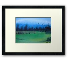 blue skies landscape water-color stylized painting Framed Print