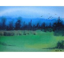 blue skies landscape water-color stylized painting Photographic Print