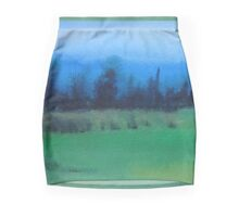 blue skies landscape water-color stylized painting Mini Skirt