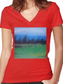 blue skies landscape water-color stylized painting Women's Fitted V-Neck T-Shirt