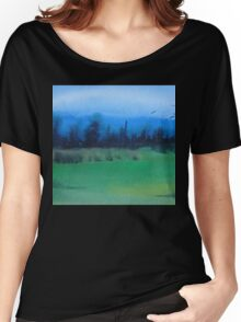 blue skies landscape water-color stylized painting Women's Relaxed Fit T-Shirt