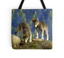 Anybody Home? - Wolf Pup Painting Tote Bag