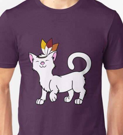Thanksgiving White Cat with Indian Headdress Unisex T-Shirt