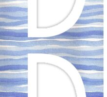 Letter E Blue Watercolor Stripes Monogram Initial Sticker