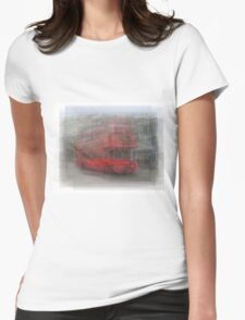 Red London Bus Overlay Womens Fitted T-Shirt
